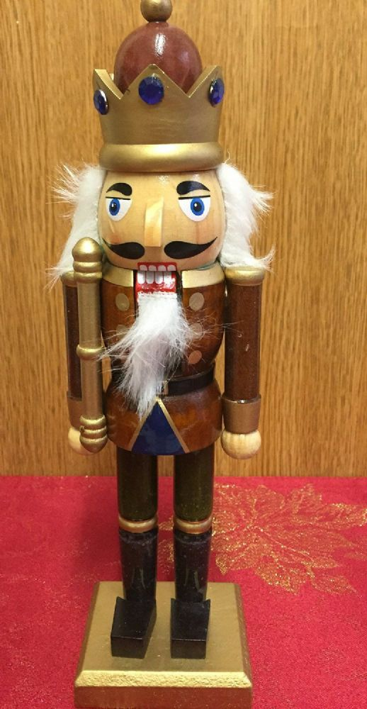 Hand Painted Wooden Nutcracker Traditional Christmas Ornament ~ Brown Crown